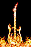 Fire electric guitar. Electronic guitar flames on a black background. Burning guitar Royalty Free Stock Photos