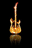Fire electric guitar. Electronic guitar flames and water reflection on a black Royalty Free Stock Image