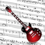 Electronic guitar on music note paper Stock Image