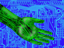 Electronic hand holding a translucent globe Royalty Free Stock Photos