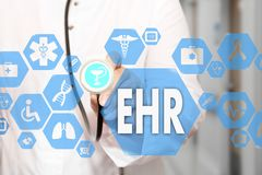 Electronic health record. EHR on the touch screen with medicine Stock Image