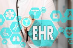 Electronic health record. EHR on the touch screen with medicine. Icons on the background blur Doctor in hospital.Innovation treatment, service, data analysis royalty free illustration