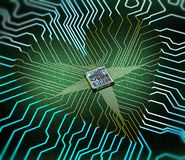 Electronic heart concept made of circuits and one cpu stock photography
