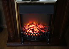 Electronic home fireplace.  Royalty Free Stock Photography