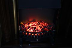 Electronic home fireplace.  Royalty Free Stock Photos