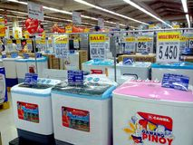 Electronic Household appliances sold in a grocery store Stock Images