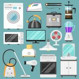 Electronic household appliances vector kitchen homeappliance for house set refrigerator or washing machine in electric. Electronic household appliances vector Royalty Free Stock Photography