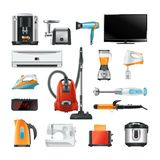 Electronic household equipment isolated on white. Equipment of household electric, blender and vacuum, vector illustration Royalty Free Stock Photo
