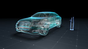 Electronic, hydrogen, lithium echo car. Charging car battery. X-ray Side view. eco-friendly future car.