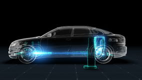Electronic, hydrogen, lithium ion battery echo car. Charging car battery. X-ray image. eco-friendly future car.