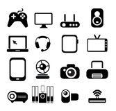 Electronic Icon Set. In Black, 16 icons Royalty Free Stock Photo