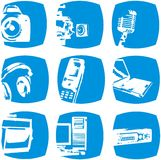 Electronic icons. Set of 9 icons showing electronic devices on a blue background Royalty Free Stock Photos