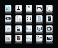 Electronic icons on black Royalty Free Stock Photo