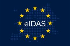 Electronic identification, authentication and trust services - EIDAS. On blue european union flag with map Stock Photography