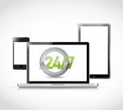 24 7 electronic illustration design Royalty Free Stock Images