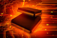 Electronic integrated circuit chip Royalty Free Stock Images