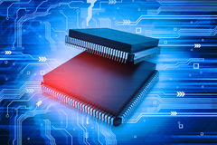 Electronic integrated circuit chip Stock Photo