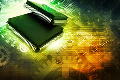 Electronic integrated circuit chip Stock Images