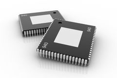 Electronic integrated circuit chip Royalty Free Stock Image