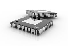Electronic integrated circuit chip Royalty Free Stock Photos