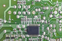 Electronic integrated circuitry macro detail. Technology backgro Royalty Free Stock Photos