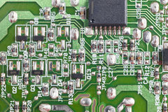 Electronic integrated circuitry macro detail. Technology backgro Royalty Free Stock Photography