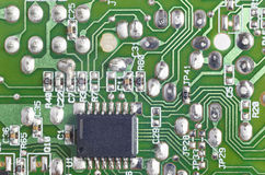 Electronic integrated circuitry macro detail. Technology backgro Stock Photo