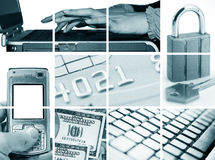 Electronic and Internet Business. Electronic business: credit card, laptop, money, padlock, phone, lcd and keyboard Royalty Free Stock Images