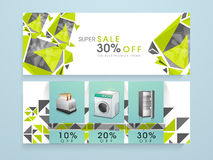 Electronic item sale website header or banner. Stock Photos