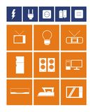 Electronic items icon set. Contains simple icons of electronic equipment Royalty Free Stock Photography