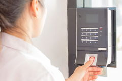 Electronic key and finger access control system Stock Photo