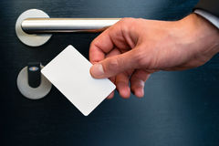 Electronic keycard for room door in modern hotel Stock Image