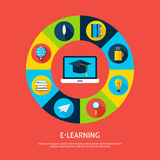 Electronic Learning Flat Infographic Concept Royalty Free Stock Photos