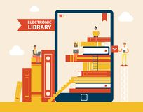 Electronic Library Books Set Vector Illustration. Electronic library books set poster, e-book screen with people reading publications, ladder and bookmarks, e vector illustration