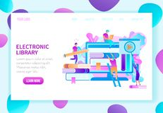 Online Library Landing Page Vector Template stock illustration