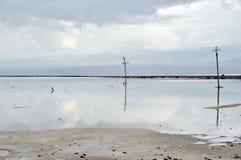 Electronic line poles. Set a line with nice reflection image on a lake bank Stock Image