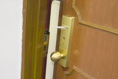 Electronic lock. Of a hotel room door Royalty Free Stock Photography