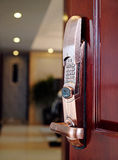 Electronic lock. Deluxe room red wood door with electronic lock Stock Photography