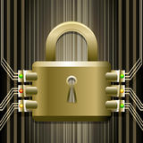 The electronic lock. Illustration with reliable electronic lock drawn in retro style vector illustration