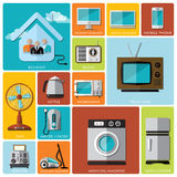 Electronic Machine And House Flat Icon Set Stock Image