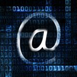Electronic mail and binary code Royalty Free Stock Photo