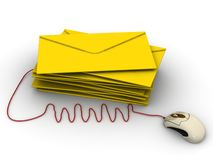 Electronic mail.  Envelopes connected to computer mouse. Stack of yellow envelopes and WWW abbreviation connected to computer mouse on white background. Isolated vector illustration
