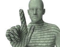 Electronic man pressing virtual computer screen Stock Photo
