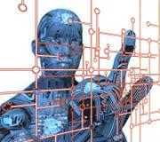 Electronic man pressing virtual computer screen Royalty Free Stock Photography