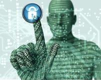 Electronic man pressing virtual computer screen Royalty Free Stock Photos