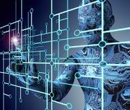 Electronic man pressing virtual computer screen Royalty Free Stock Image