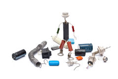 Electronic man with radio components royalty free stock photos