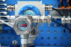 Electronic manometers. Modern instruments for measuring pressure. Abstract industrial background Stock Images