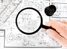 Electronic map. With a magnifying glass royalty free stock photo