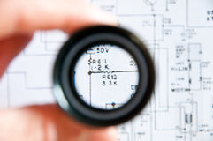 Electronic map. With a magnifying glass royalty free stock images